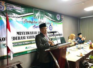 Said Aqil Siroj, Ketua Umum Pengurus Besar NU saat membuka musyawarah pimpinan nasional Sarbumusi.