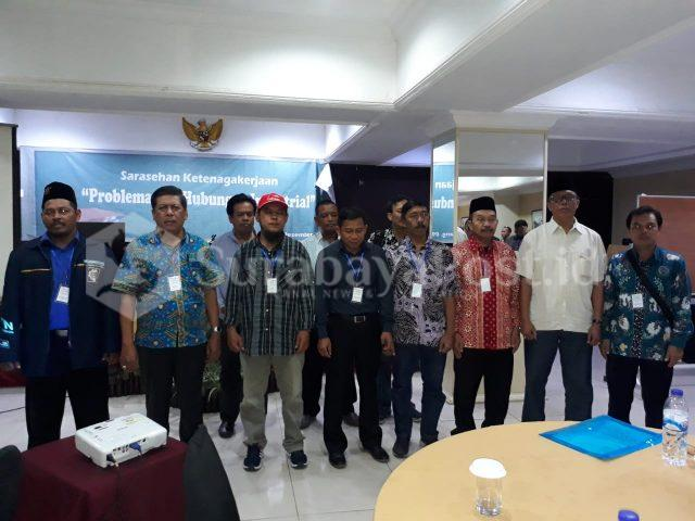 Para buruh deklarasi Pemilu 2019 damai dan sejuk.