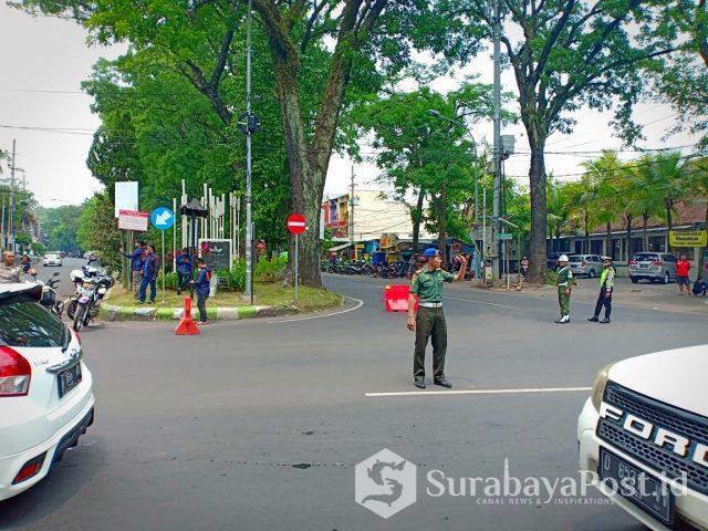 Rekayasa Lalin di Jalan Jakarta yang dijadikan satu arah terlihat lancar.