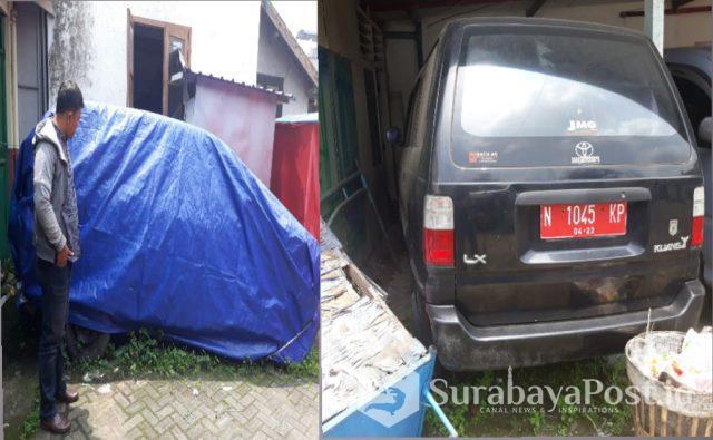 Dua unit mobil dinas yang dibiarkan mangkrak tidak terawat.