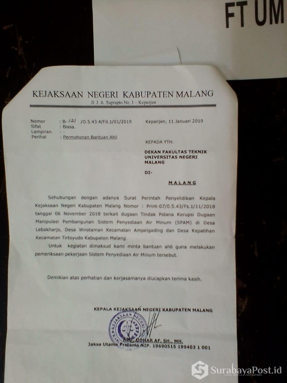 Surat permohonan bantuan saksi ahli ke PTN di Malang