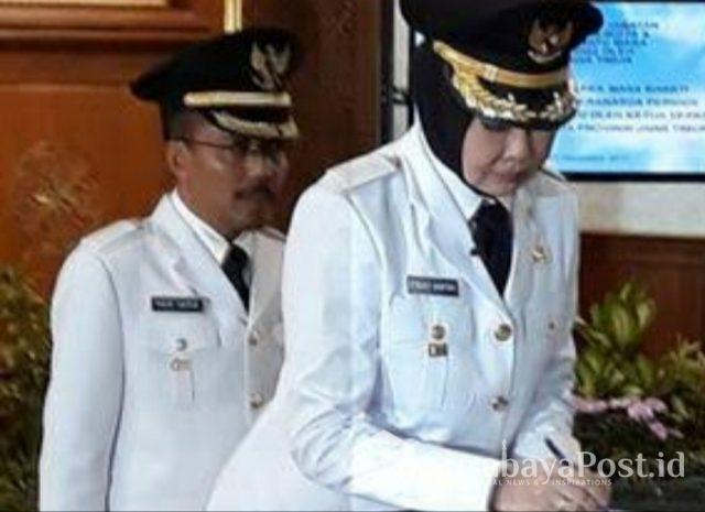 Wali Kota Batu Hj Dewanti Rumpoko didampingi Wawali Punjul Santoso.