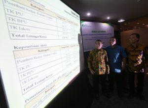 Dodo Suharto didampingi Dodit Isdiyono menerangkan tentang kinerja BPJS Ketenagakerjaan Jatim