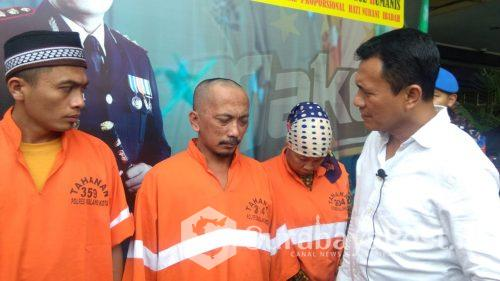Tiga tersangka narkoba yang ditangkap Satresnarkoba Polres Malang Kota.