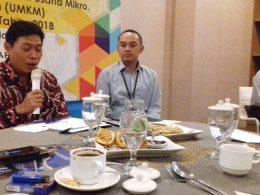 Kepala Perwakilan BI Malang Azka Subhan Aminurridho (kiri) kala Bincang Santai Bersama Media di Malang, Rabu (27/2/2019).