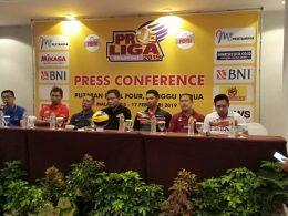 Psywar antar tim peserta Final Four Putaran Kedua Proliga 2019 di GOR Ken Arok Malang mulai hangat.