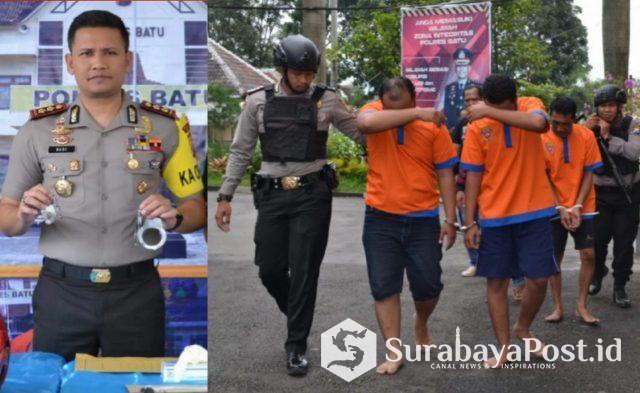 Kapolres Batu, AKBP Budi Hermanto kala merilis tiga pelaku pemerasan.