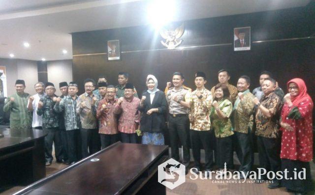Walikota Hj Dewanti Rumpoko bersama Forkopimda sepakat melarang kampanye pemilu menggunakan fasilitas pemerintah, tpatut ibadah dan pendidikan.