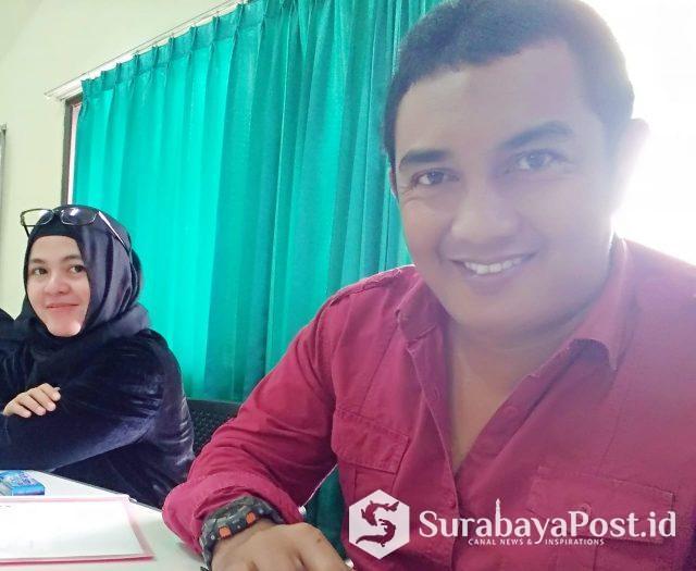 Suwito, Mahasiswa Magister Ilmu Hukum Universitas Widyagama Malang bersama Anna Mazalena dalam diskusi menyambut Dies Natalis ke 48 kemarin.