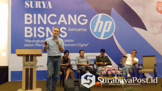 County Print Marketing Manager HP Indonesia, Fajar Heriyanto kala memberikan presentasi terkait produk printer terkemuka di dunia pada para pelaku UMKM di Malang Raya.