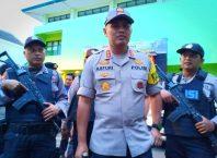 Kapolres Malang Kota, AKBP Asfuri saat memantau pengamanan penghitungan suara di PPK Lowokwaru.