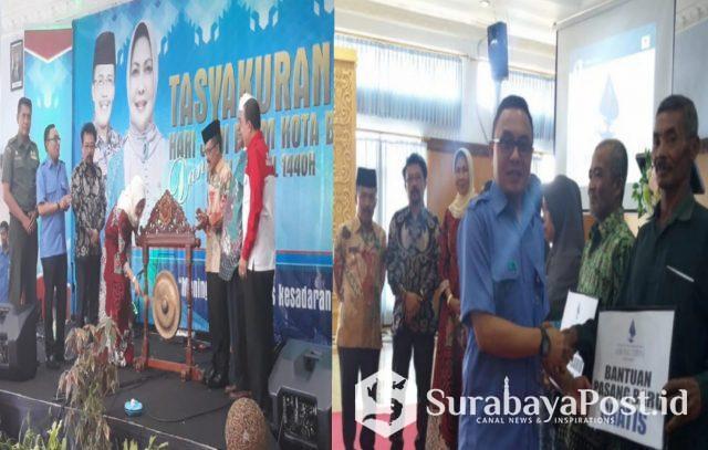 Wali Kota Batu Hj Dewanti Rumpoko memukul gong usai me-launching logo baru Perumda Among Tirto Kota Batu.